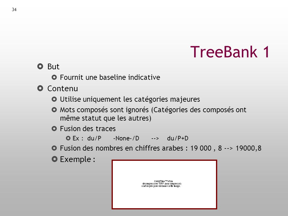 TreeBank 1 But Contenu Exemple : Fournit une baseline indicative