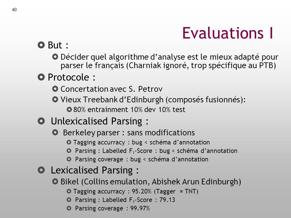 Evaluations I But : Protocole : Unlexicalised Parsing :