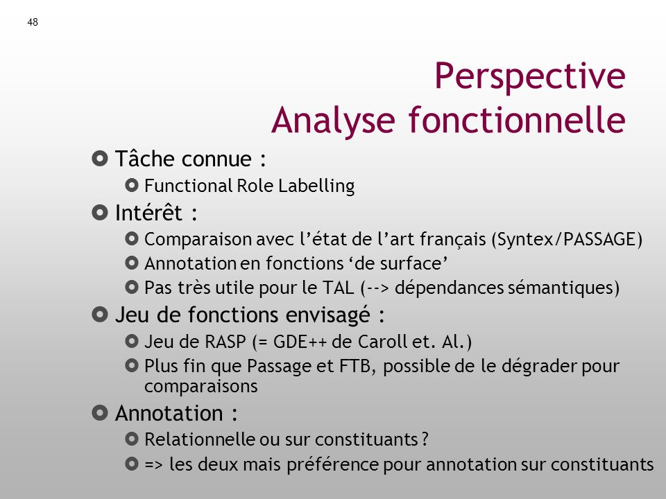 Perspective Analyse fonctionnelle