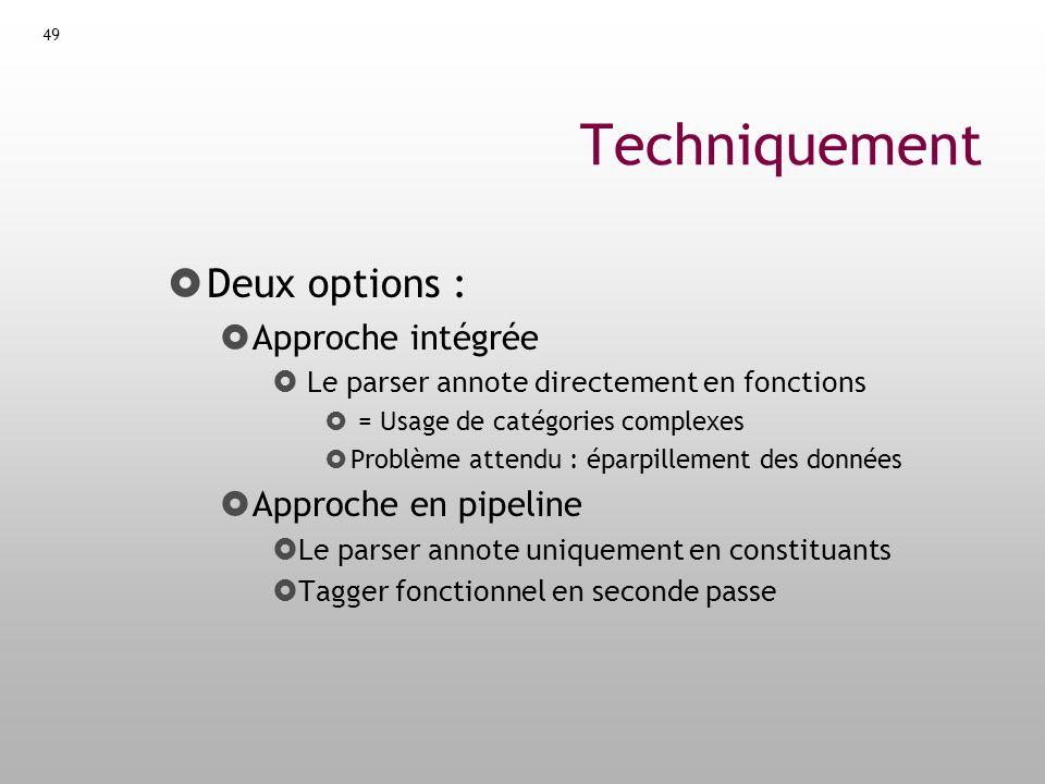Techniquement Deux options : Approche intégrée Approche en pipeline