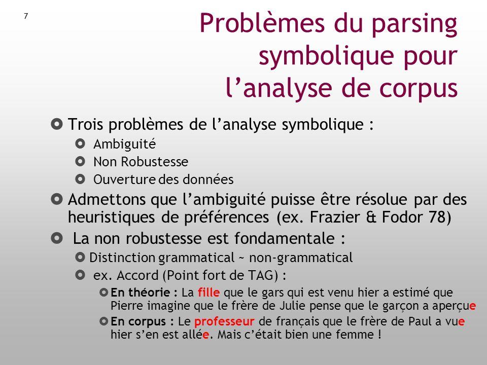 Problèmes du parsing symbolique pour l'analyse de corpus