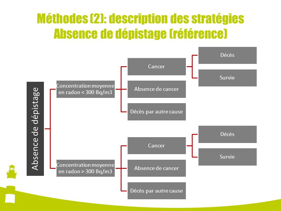 Méthodes (2): description des stratégies Absence de dépistage (référence)