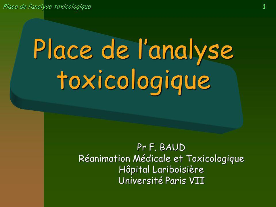 Place de l'analyse toxicologique