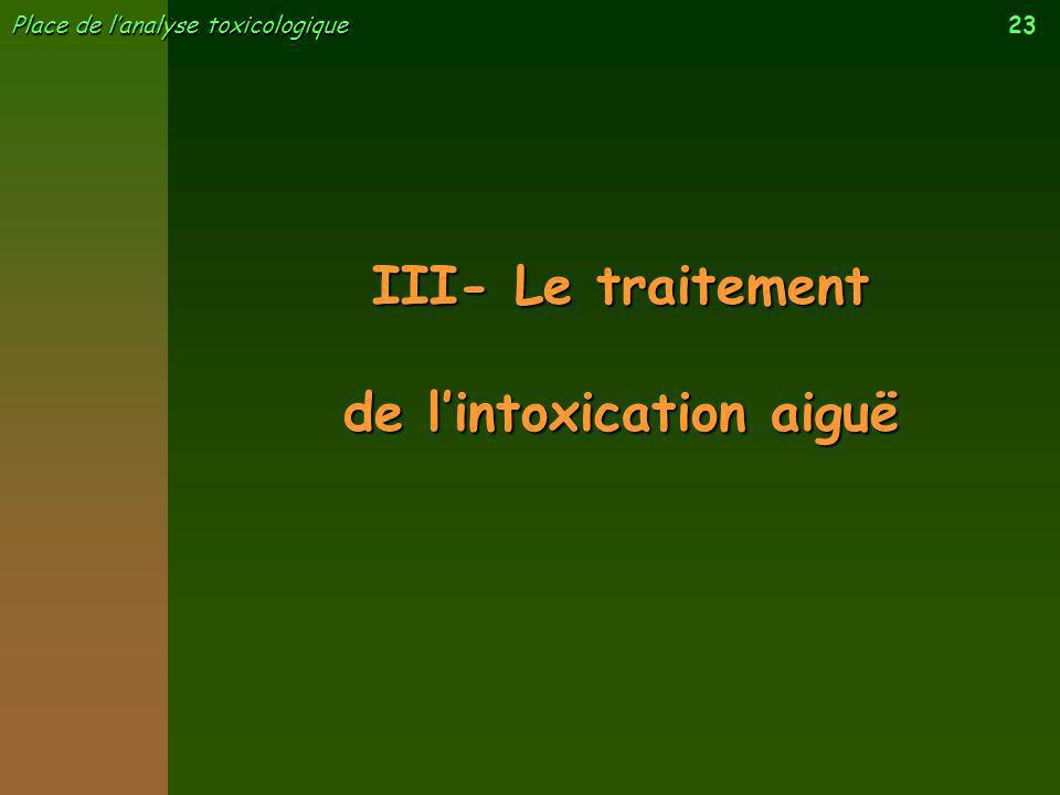 de l'intoxication aiguë