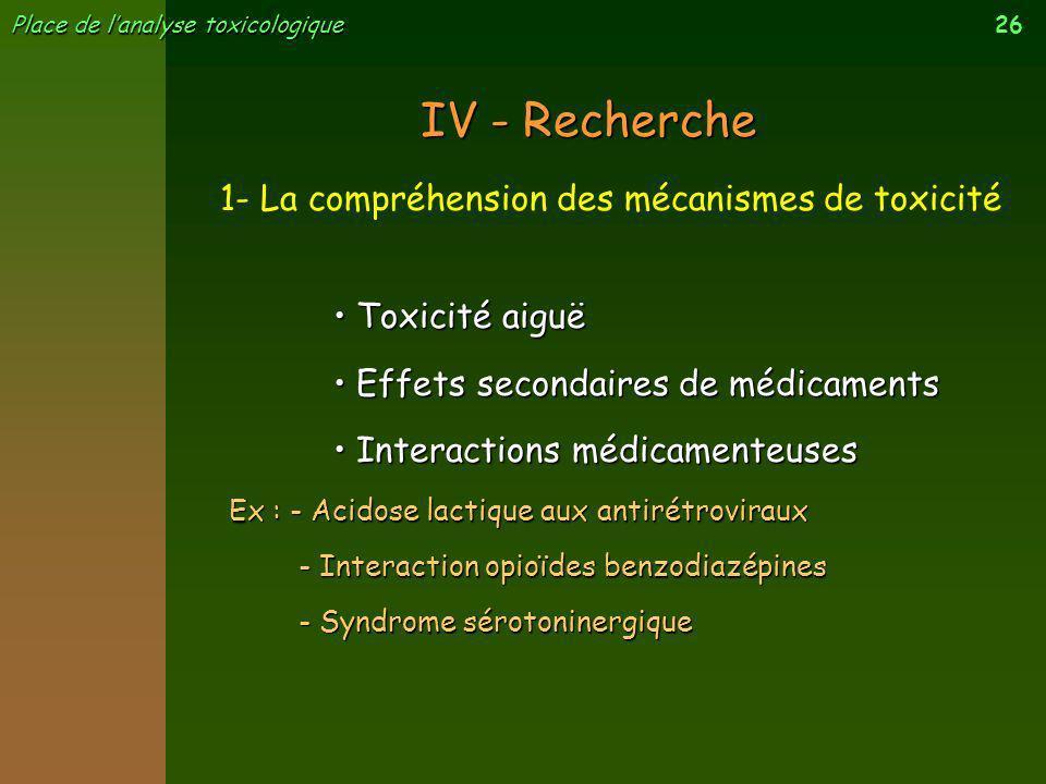 IV - Recherche 1- La compréhension des mécanismes de toxicité