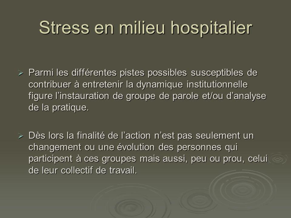 Stress en milieu hospitalier