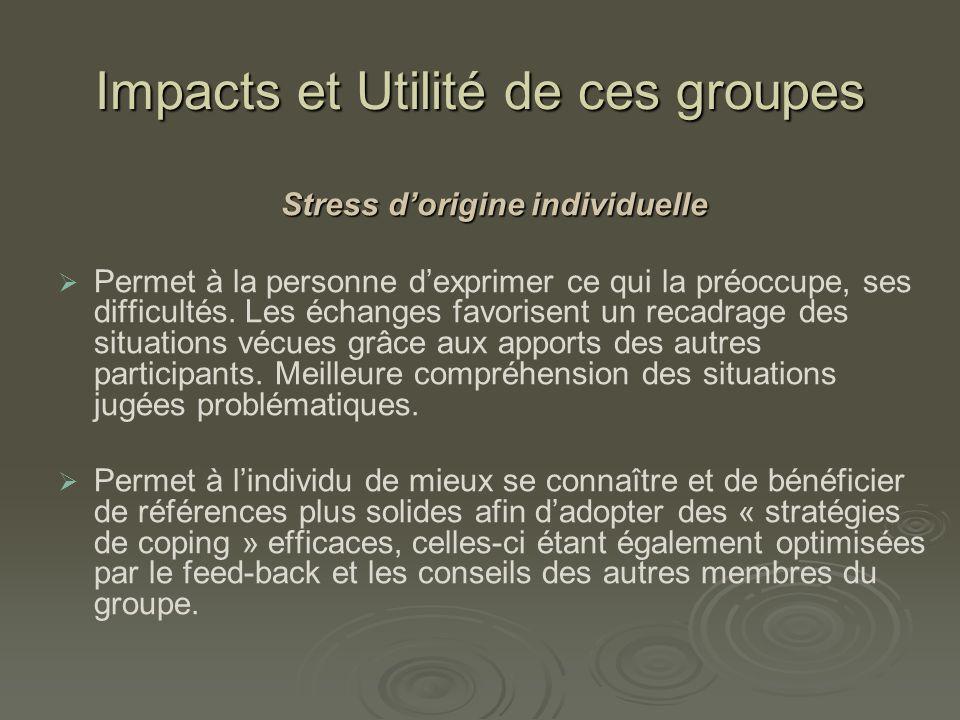 Impacts et Utilité de ces groupes