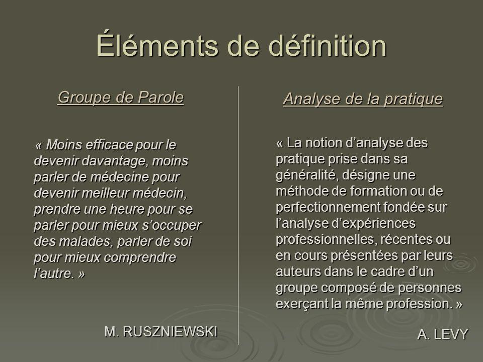 Éléments de définition