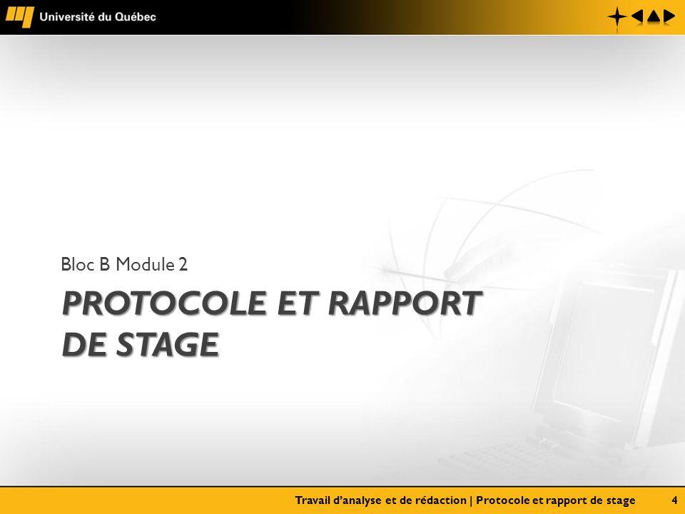 Protocole et rapport de stage