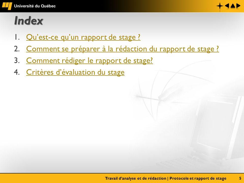 Index Qu'est-ce qu'un rapport de stage