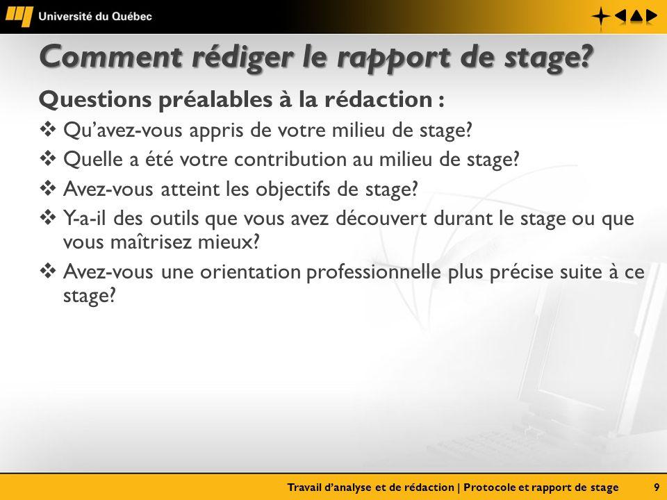 Comment rédiger le rapport de stage