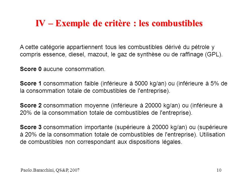 IV – Exemple de critère : les combustibles