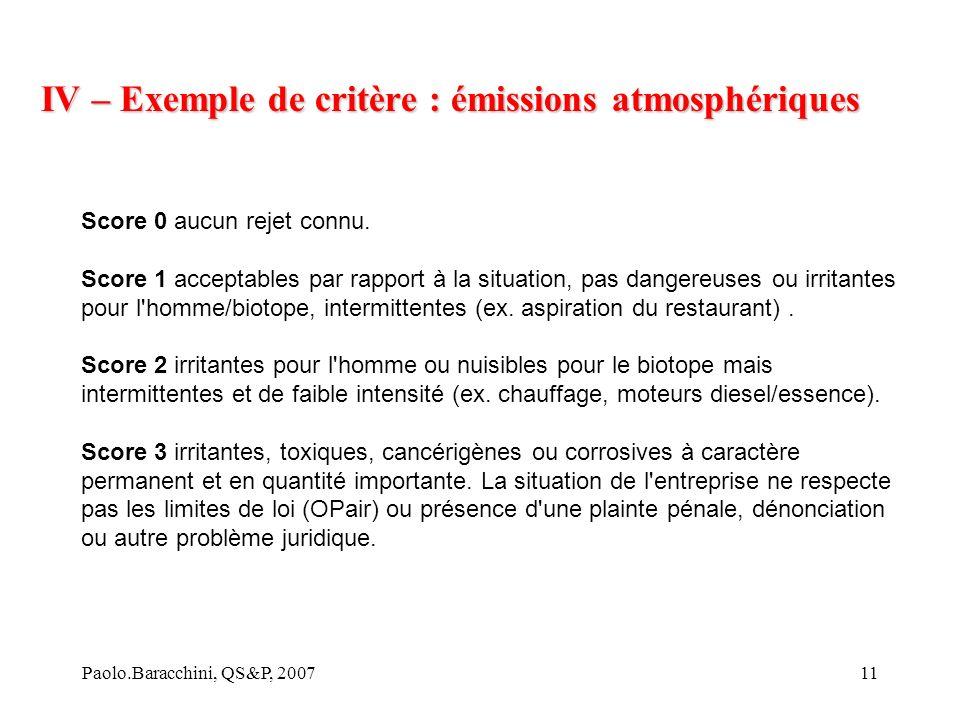 IV – Exemple de critère : émissions atmosphériques
