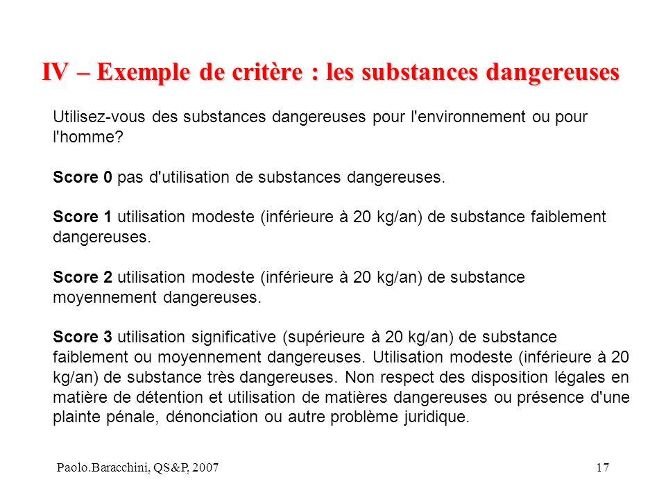 IV – Exemple de critère : les substances dangereuses