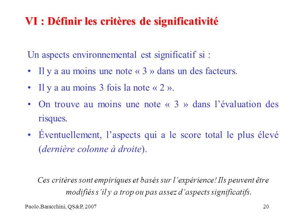 VI : Définir les critères de significativité