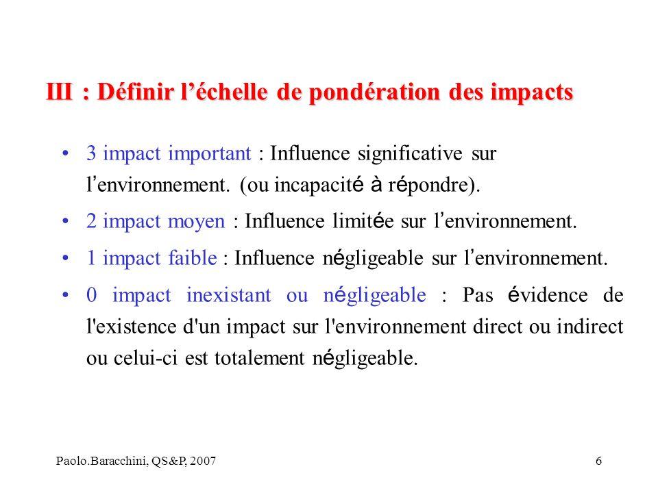 III : Définir l'échelle de pondération des impacts
