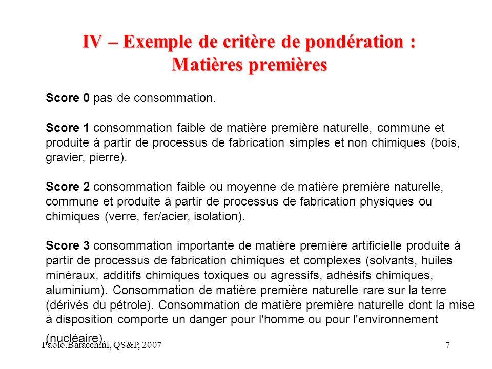 IV – Exemple de critère de pondération : Matières premières