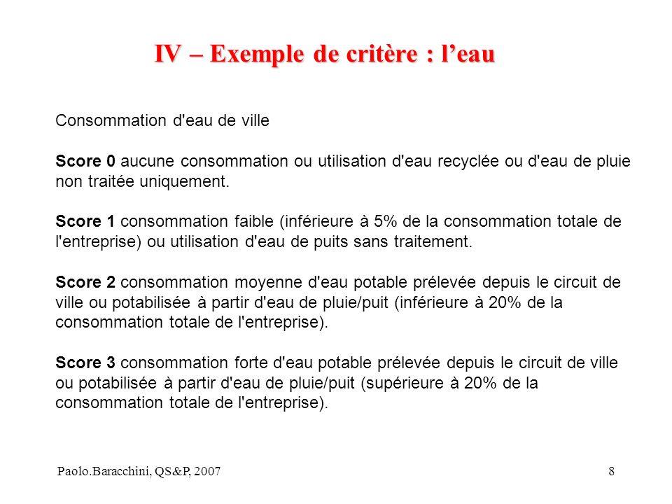 IV – Exemple de critère : l'eau