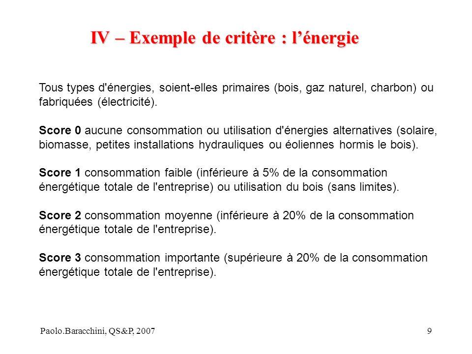 IV – Exemple de critère : l'énergie