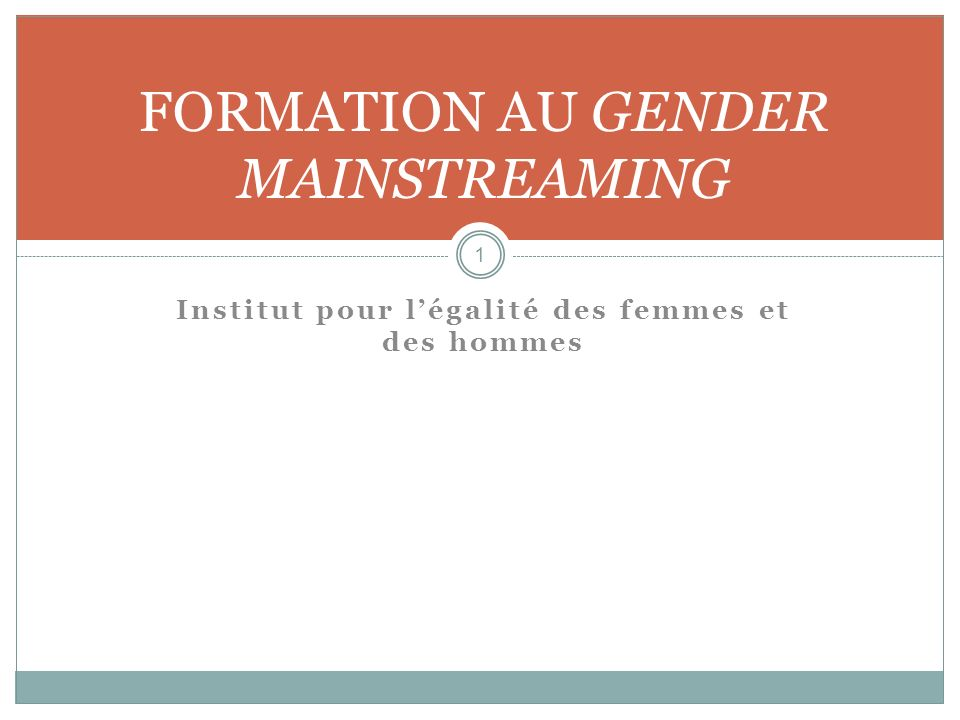 FORMATION AU GENDER MAINSTREAMING