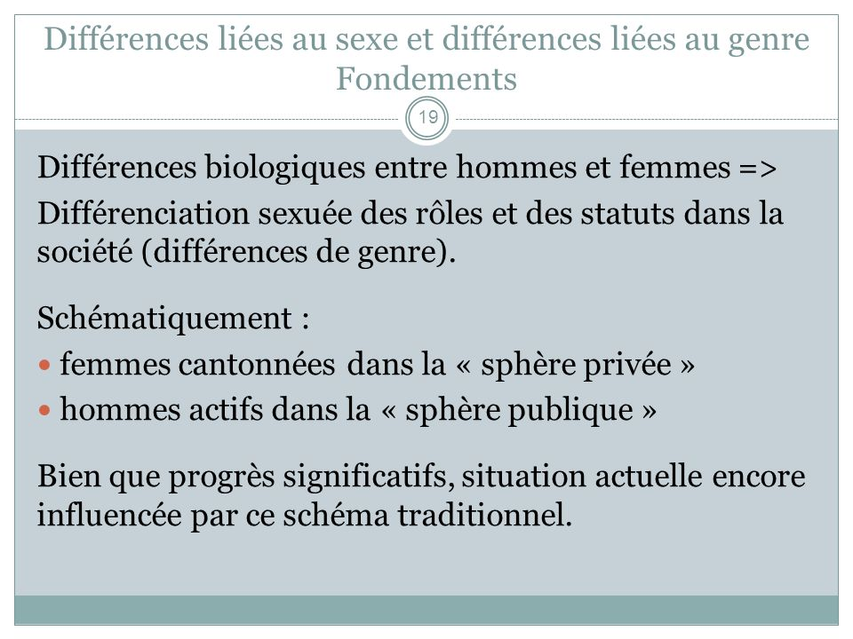 Différences liées au sexe et différences liées au genre Fondements