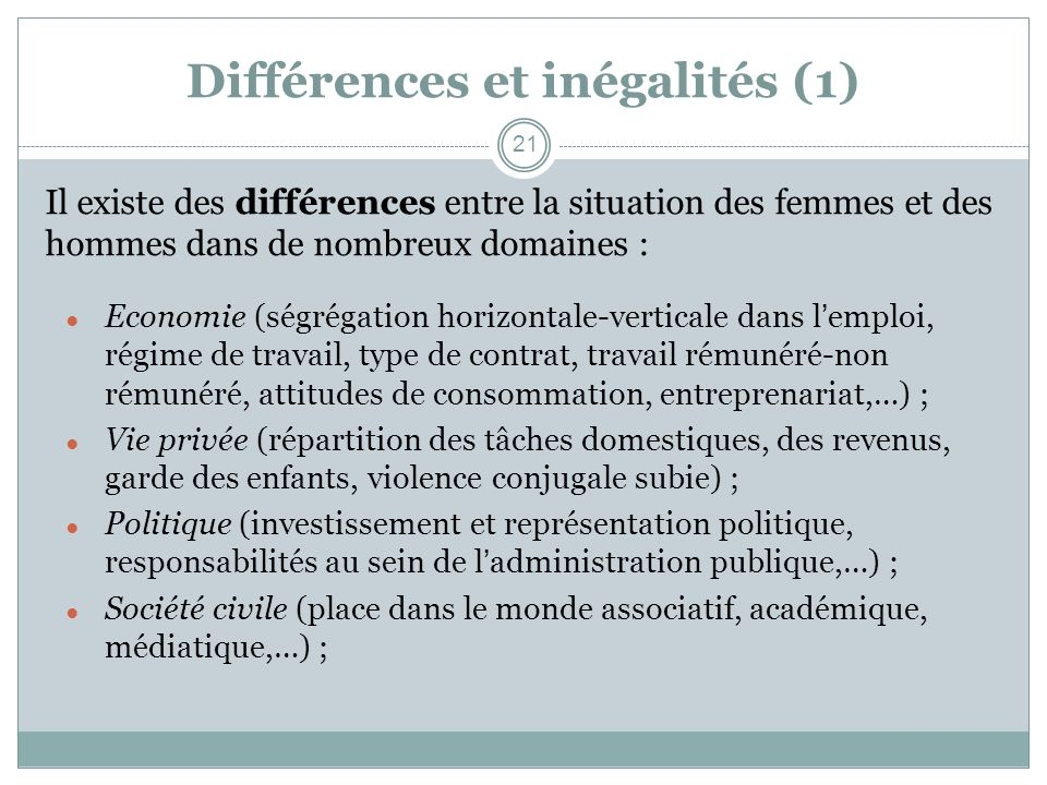 Différences et inégalités (1)