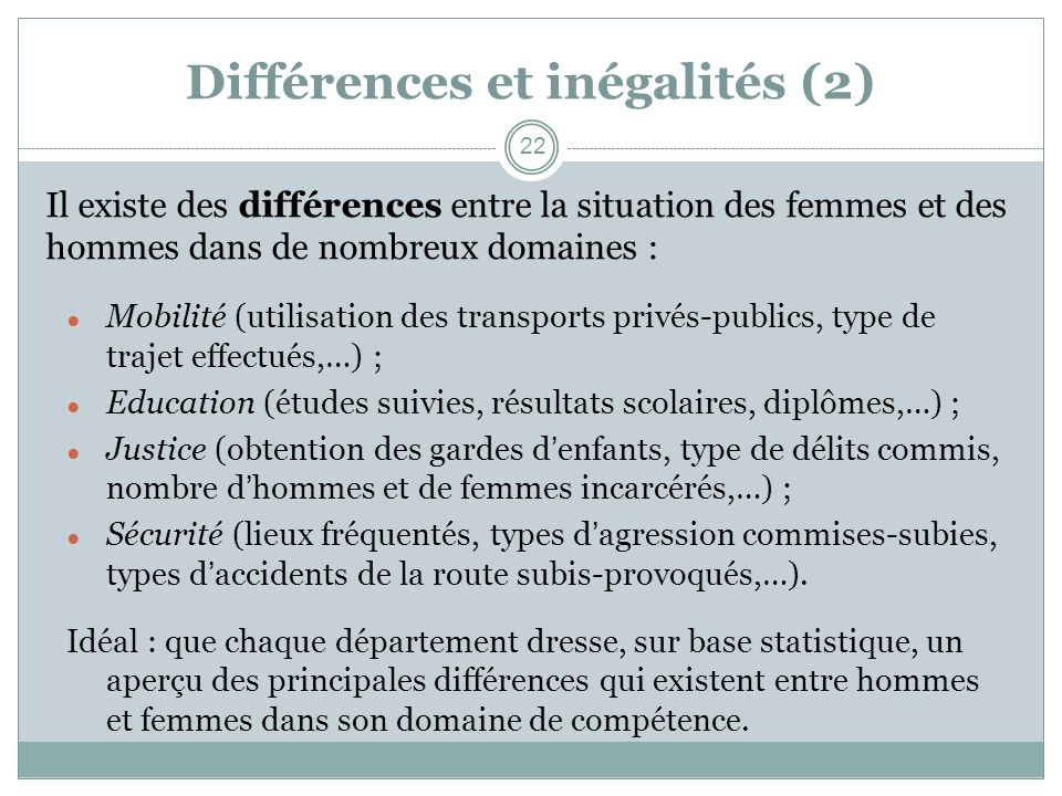 Différences et inégalités (2)