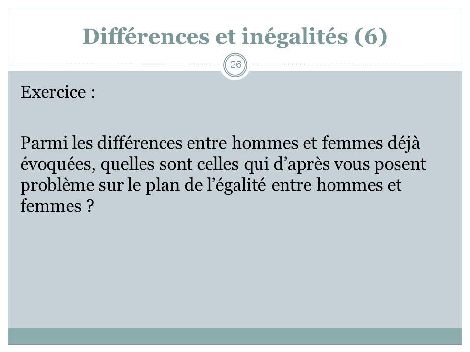 Différences et inégalités (6)