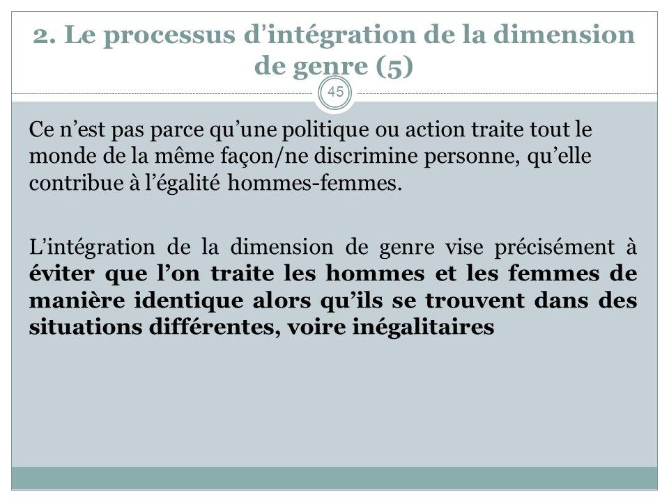 2. Le processus d'intégration de la dimension de genre (5)