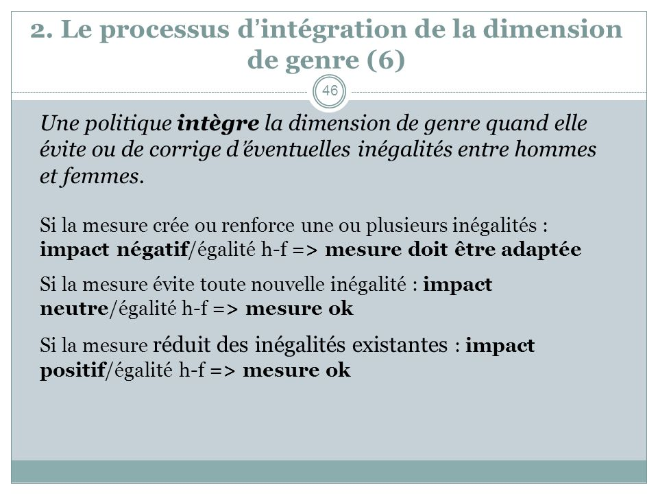 2. Le processus d'intégration de la dimension de genre (6)