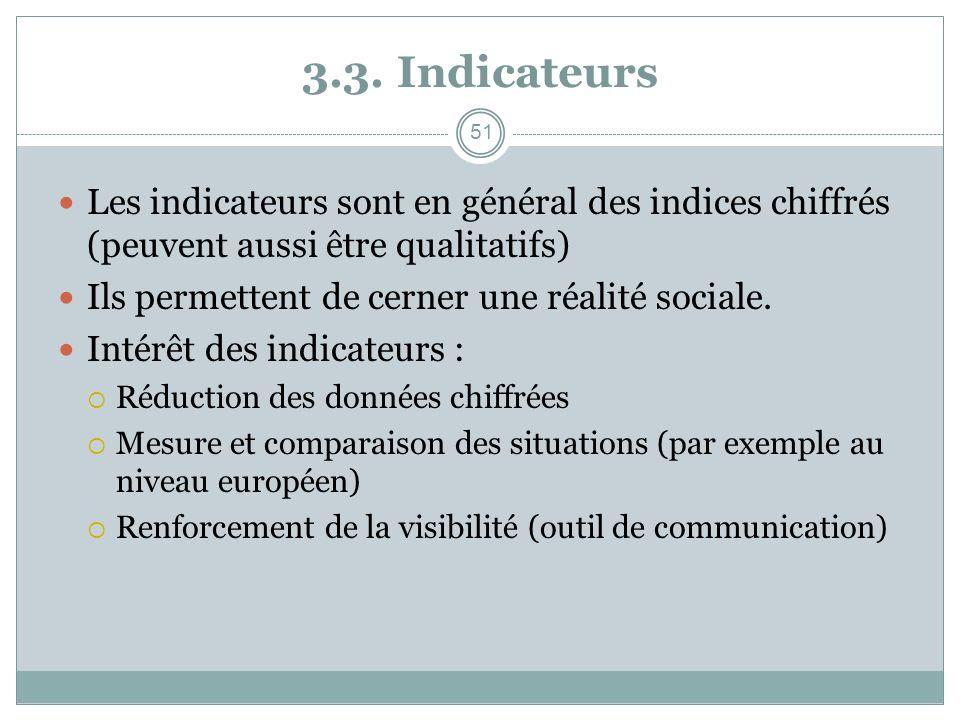 3.3. Indicateurs Les indicateurs sont en général des indices chiffrés (peuvent aussi être qualitatifs)