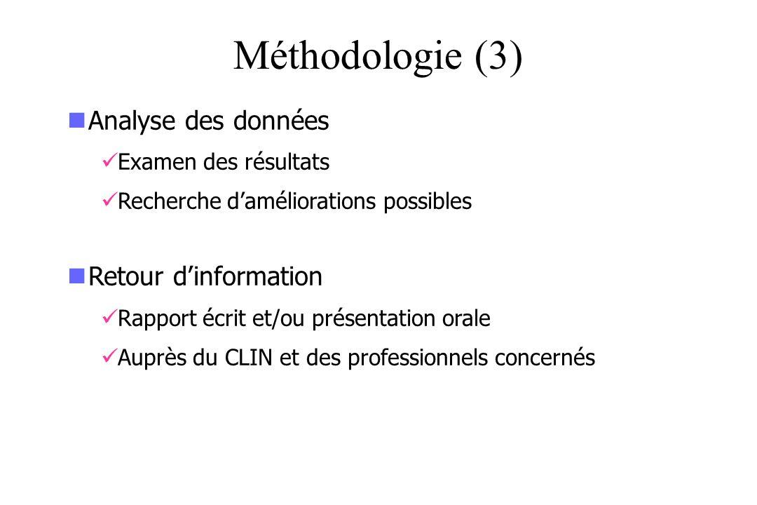 Méthodologie (3) Analyse des données Retour d'information