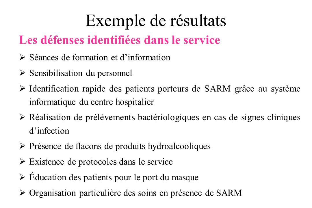 Exemple de résultats Les défenses identifiées dans le service