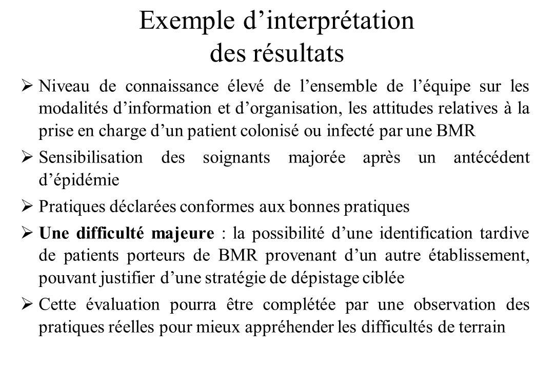 Exemple d'interprétation des résultats