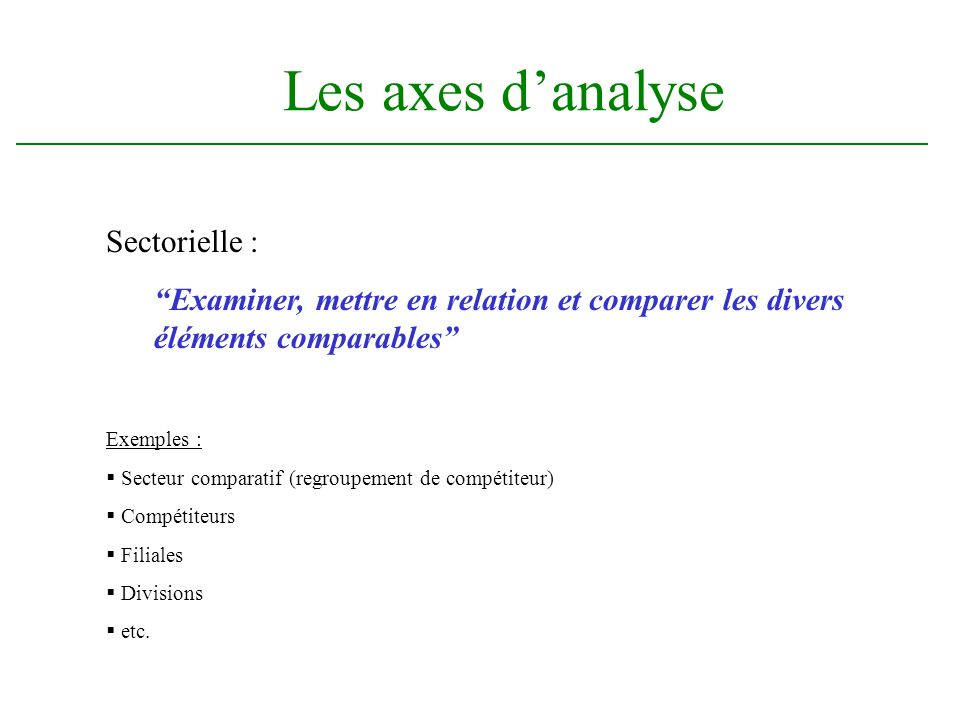 Les axes d'analyse Sectorielle :