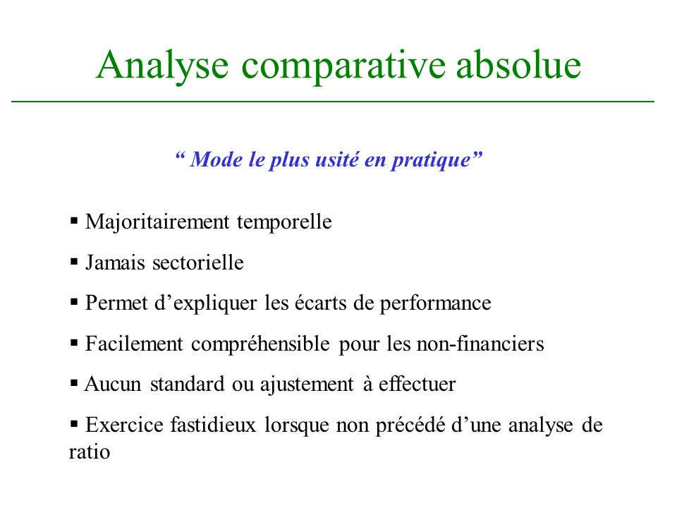 Analyse comparative absolue