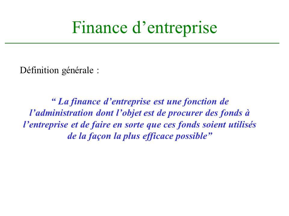 Finance d'entreprise Définition générale :