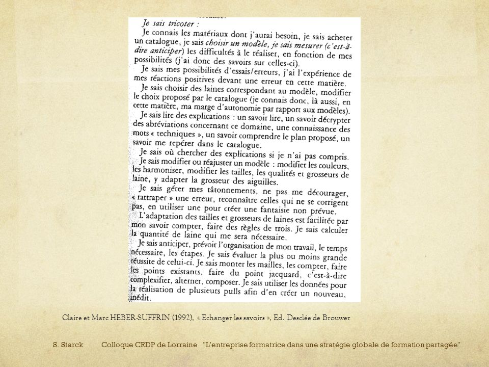 Claire et Marc HEBER-SUFFRIN (1992), « Echanger les savoirs », Ed