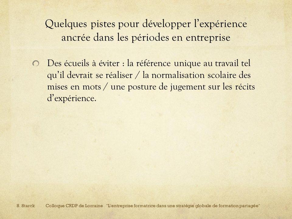 Quelques pistes pour développer l'expérience ancrée dans les périodes en entreprise