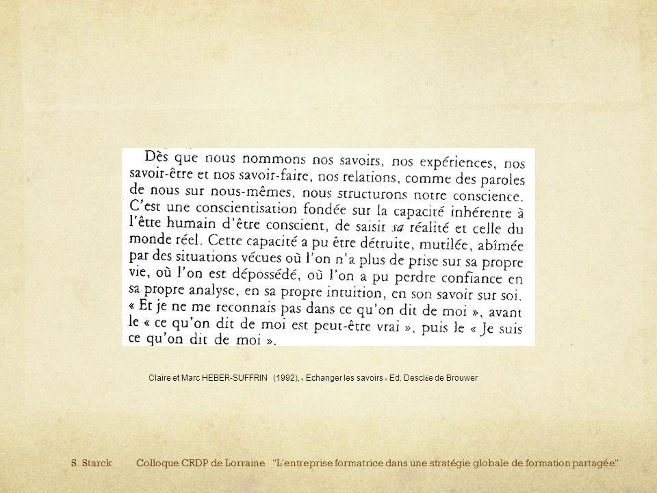 Claire et Marc HEBER-SUFFRIN (1992), « Echanger les savoirs » Ed