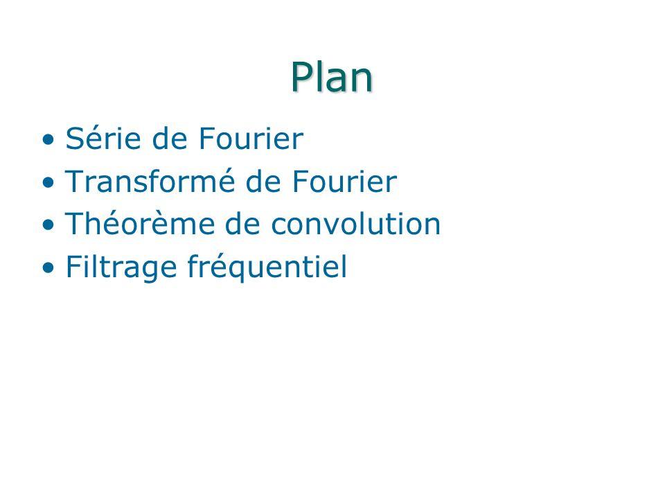 Plan Série de Fourier Transformé de Fourier Théorème de convolution