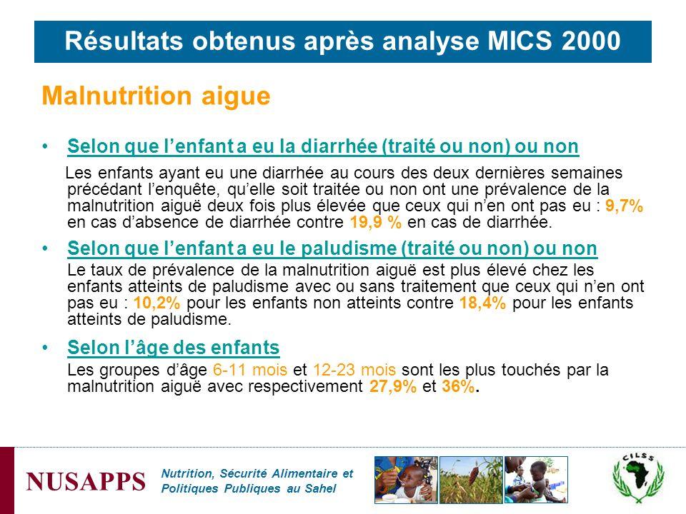 Résultats obtenus après analyse MICS 2000