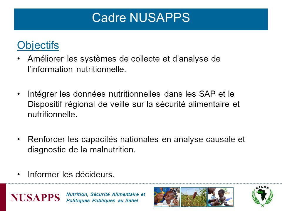 Cadre NUSAPPS Objectifs