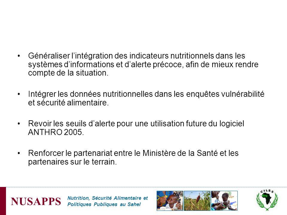 Généraliser l'intégration des indicateurs nutritionnels dans les systèmes d'informations et d'alerte précoce, afin de mieux rendre compte de la situation.