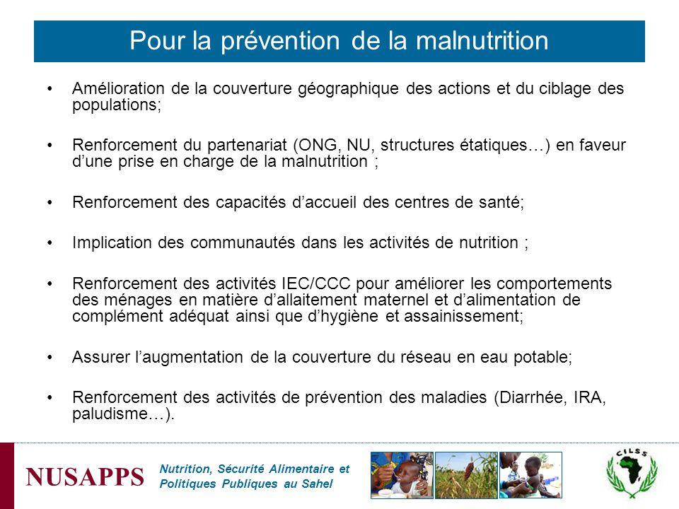 Pour la prévention de la malnutrition