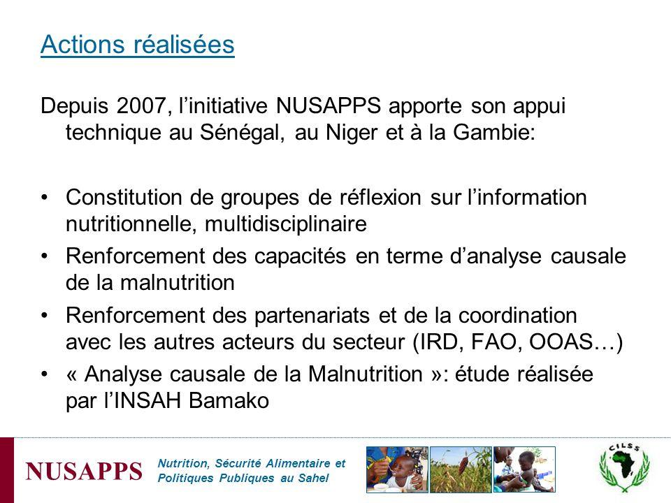 Actions réalisées Depuis 2007, l'initiative NUSAPPS apporte son appui technique au Sénégal, au Niger et à la Gambie: