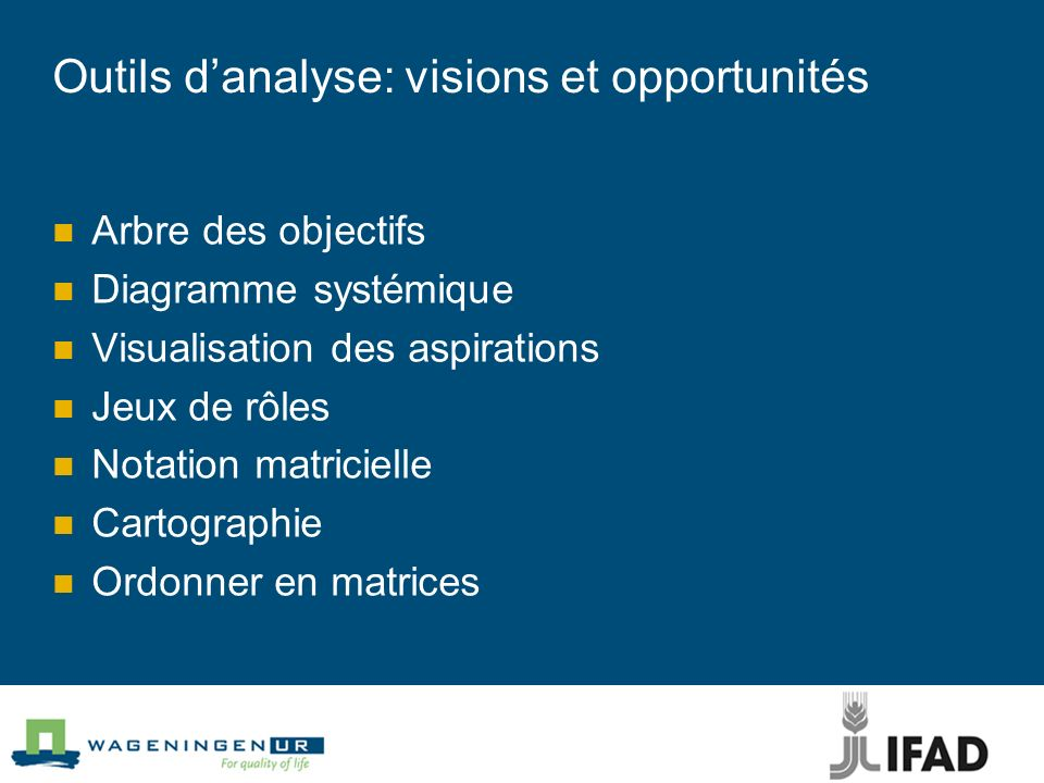 Outils d'analyse: visions et opportunités