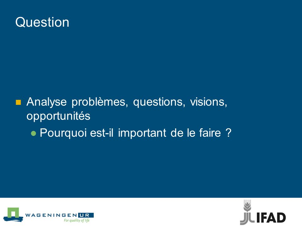 Question Analyse problèmes, questions, visions, opportunités