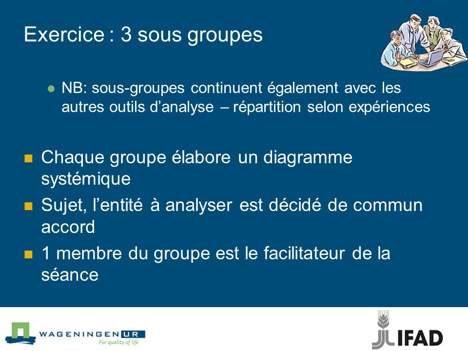 Exercice : 3 sous groupes