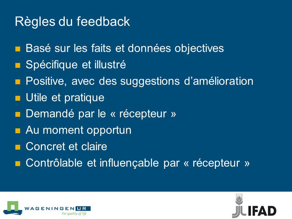 Règles du feedback Basé sur les faits et données objectives